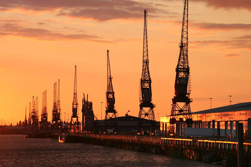 Amazing sunset bathing Southampton Docks in golden red light. Taken from Mayflower Park.