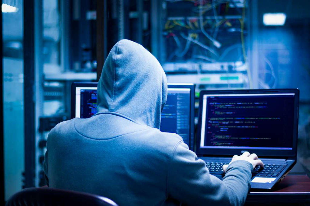 Hacker stealing your data so they can commit and act of identity theft. Make sure you protect you and your identity.
