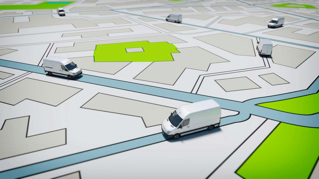 Map with vans on it showing your vehicle tracking locations